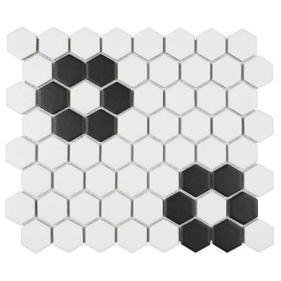 Restore Matte Black and White Hexagon 12 in. x 14 in. x 6.35 mm Glazed Ceramic Mosaic Tile (1 sq. ft./piece)