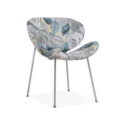Peter Multi Abstract Floral Blue Modern Armless Chairs with Chrome Legs (Set of 2)