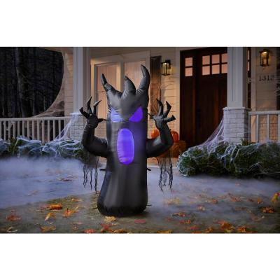 3.5 ft. Black Scary Tree with Purple Face Halloween Inflatable