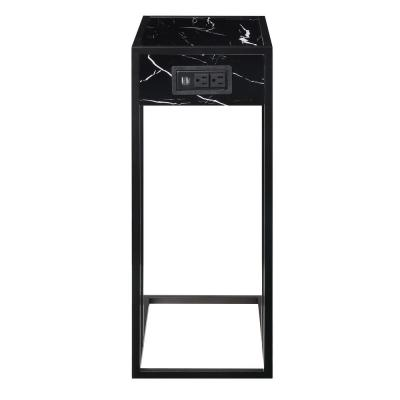 Dayton Black/Black End Table with 2-USB Charging Ports, 2-Outlets and Power Plug