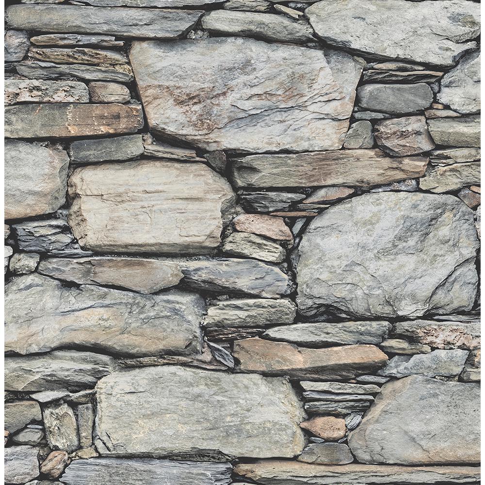 Grey Stone Wall Historic Wallpaper Sample