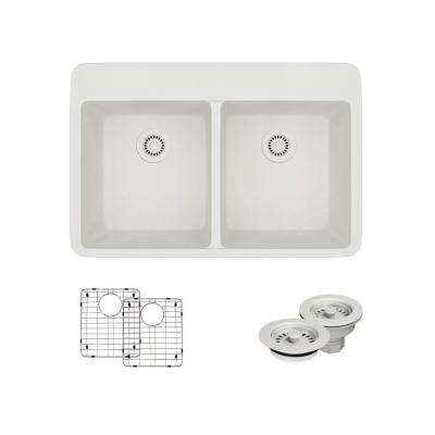 Drop-In Quartz 33 in. Double Bowl Kitchen Sink in Ivory