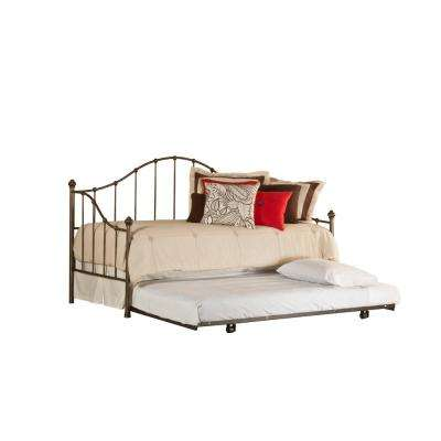 Amy Old Brushed Pewter Daybed with Suspension Deck and Roll-Out Trundle