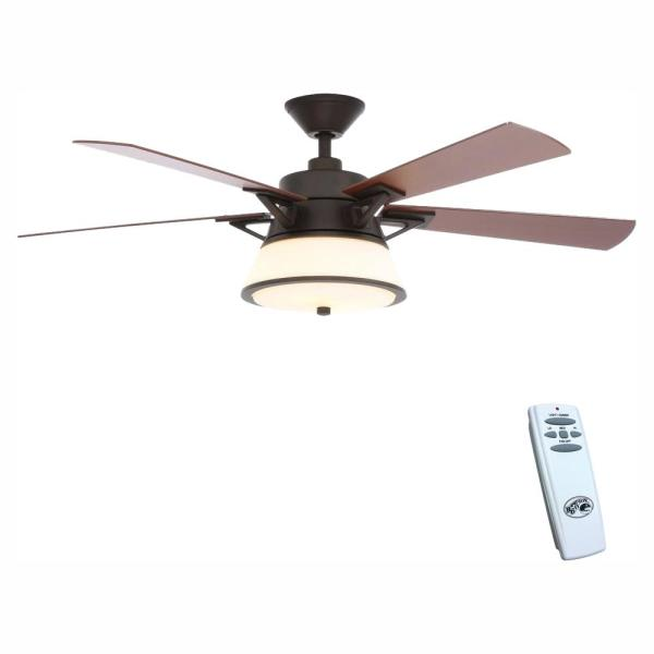 Marlowe 52 in. LED Indoor Oil Rubbed Bronze Ceiling Fan with Light Kit and Remote Control