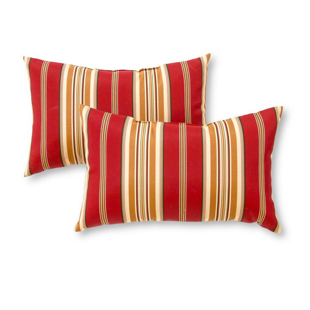 Greendale Home Fashions Roma Stripe Lumbar Outdoor Throw Pillow 2 Pack