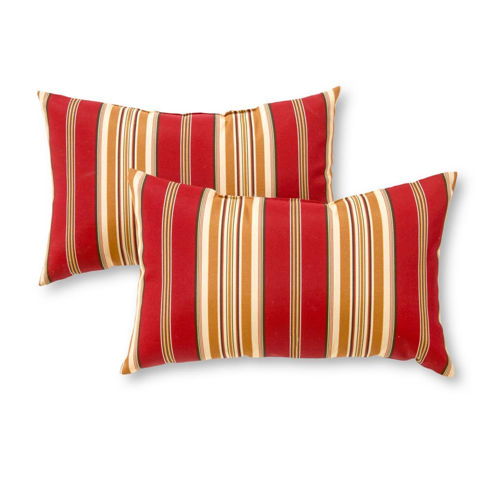 Greendale Home Fashions Roma Stripe Lumbar Outdoor Throw Pillow (2-Pack)