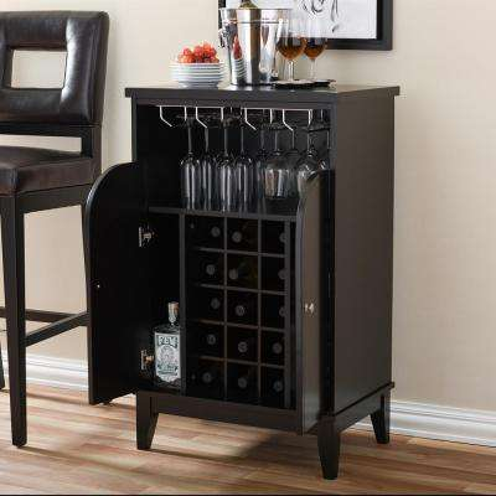 Easton Contemporary Dark Brown Wood Finish Wine Cabinet