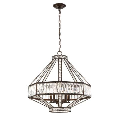 Bellezza Collection 5-Light Bronze Chandelier with Crystal Shade
