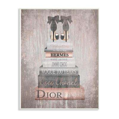 "12.5 in. x 18.5 in. ""Book Stack Heels Metallic Pink"" by Amanda Greenwood Printed Wood Wall Art"