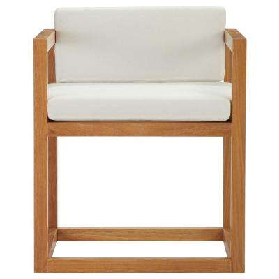 Newbury Grade A Natural Teak Outdoor Dining Chair with White Cushions