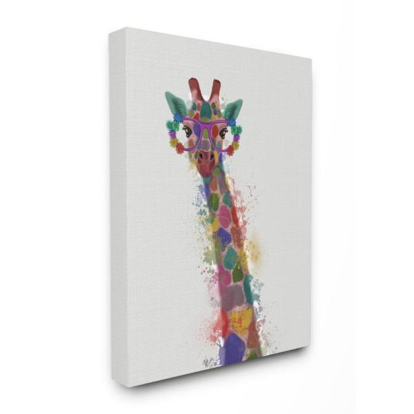 The Stupell Home Decor Collection 30 In X 40 Rainbow Splash Giraffe