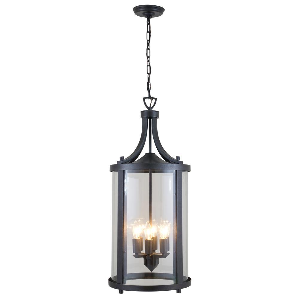 Antonia Hammered Black 6-Light Hanging Lantern