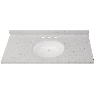 49 in. W x 22 in. D Solid Surface Vanity Top in Silver Ash with White Sink