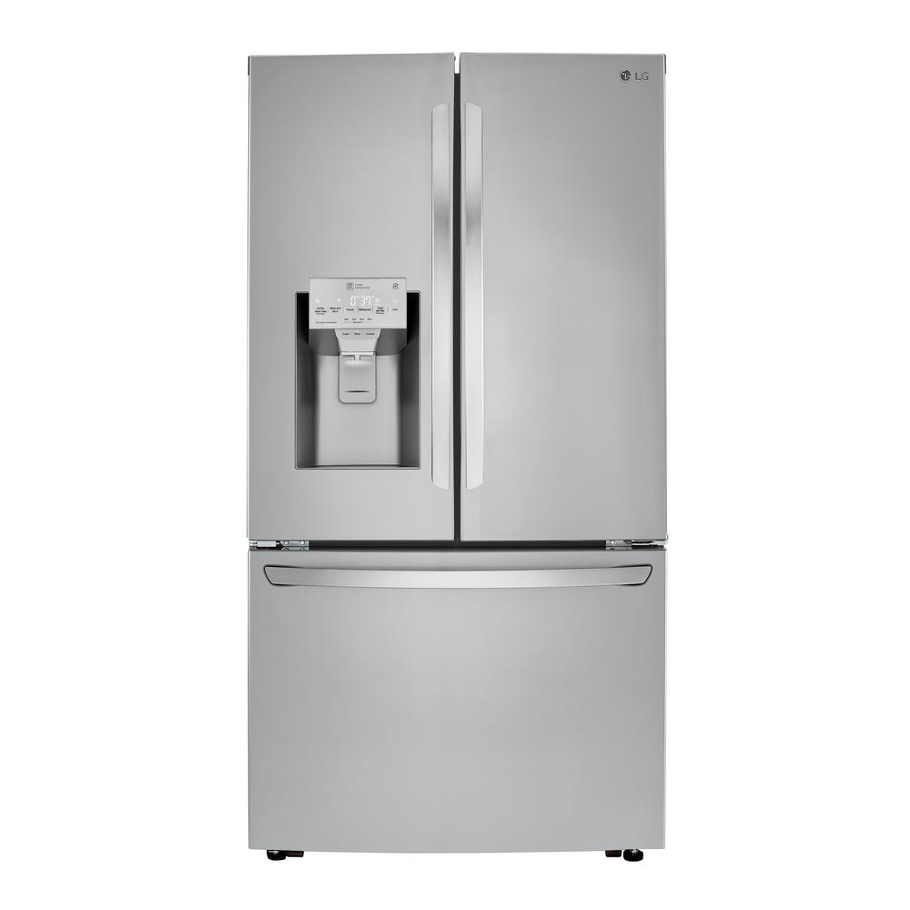 LG Electronics 23.5 cu. ft. French Door Smart Refrigerator w/Dual Icemaker & Wi-Fi Enabled in PrintProof Stainless Steel Counter Depth