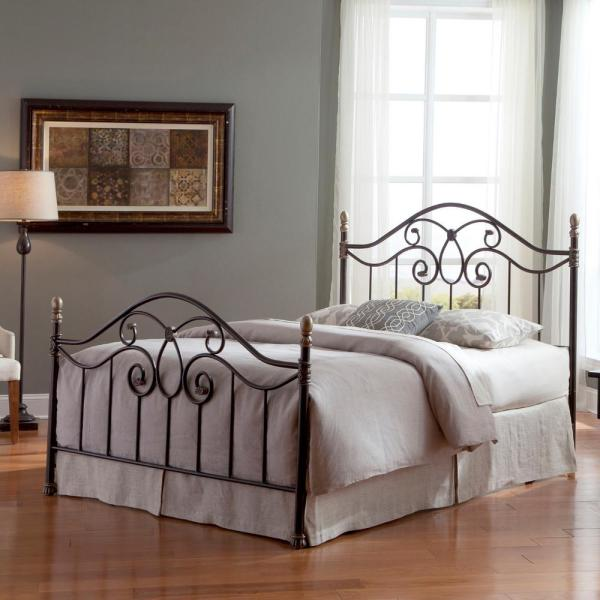684110c2ba4 Dynasty Autumn Brown California King-Size Complete Bed with Arched Metal  Panels and Scalloped Finial Posts