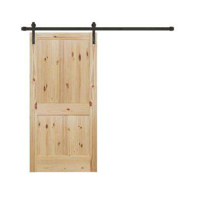 36 in. x 84 in. Rustic Unfinished 2-Panel Knotty Pine Interior Wood Sliding Barn Door with Bronze Hardware Kit