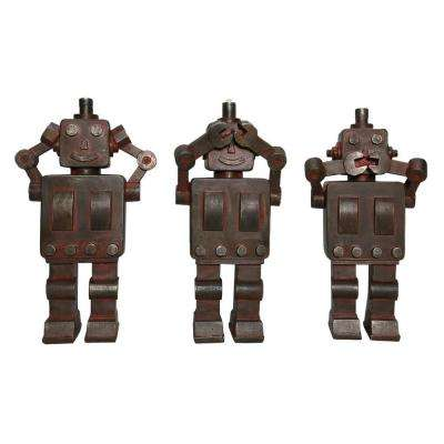9.25 in. Brown Robot Tabletop (Set of 3)