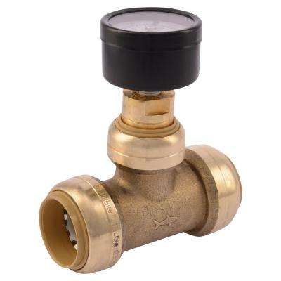 1 in. Brass Push-to-Connect Tee with Water Pressure Gauge
