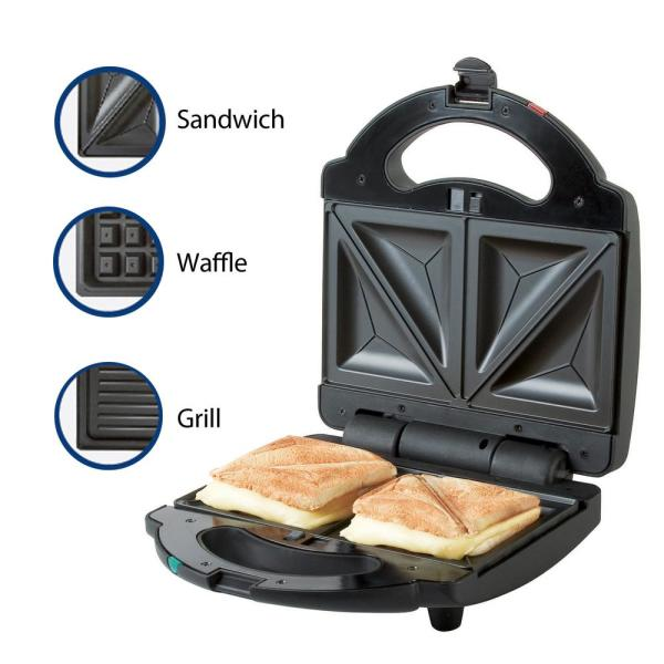 Premium 3 In 1 760 W Black Sandwich Maker Psm270 The Home Depot