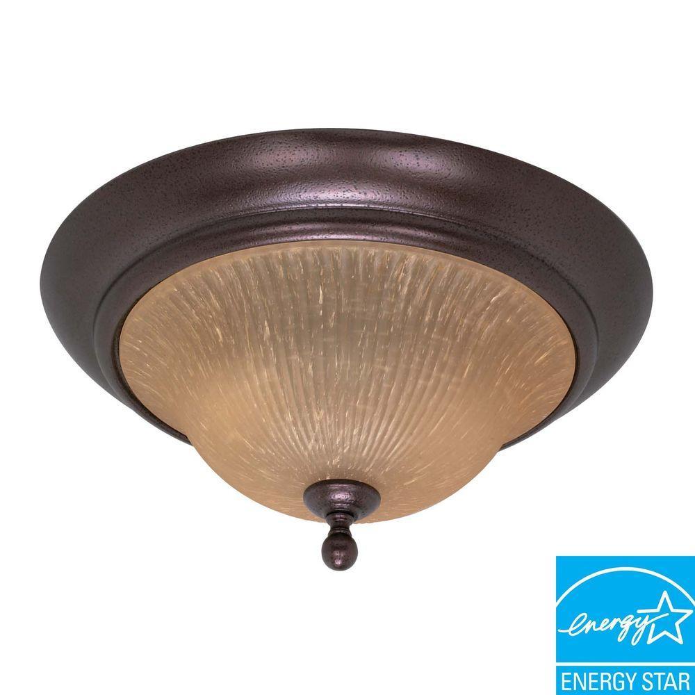 3-Light Flush-Mount Copper/Bronze Dome Fixture