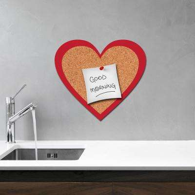 11.9 in. x 10.3 in. Red Heart Cork Pin Board Decal