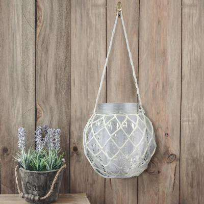 8 in. x 8 in. Clear Textured Glass Jar with White Rope Cage and Hanger