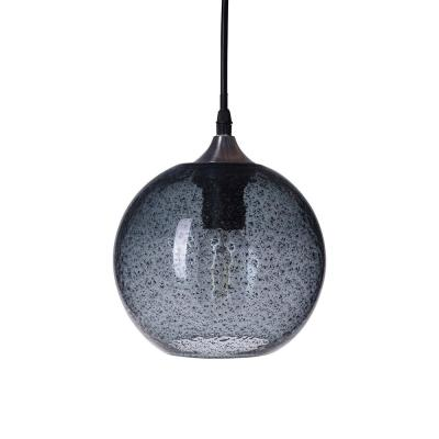 7 in. W x 7 in. H 1-Light Nickel Rustic Seeded Hand Blown Glass Pendant Light with Blue Glass Shade