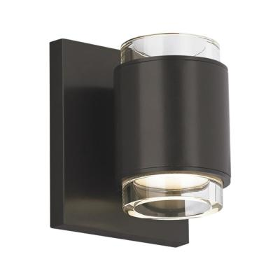 Voto 4.3 in. W Antique Bronze Round LED Wall Sconce with Clear Glass Shades and Uplight/Downlight