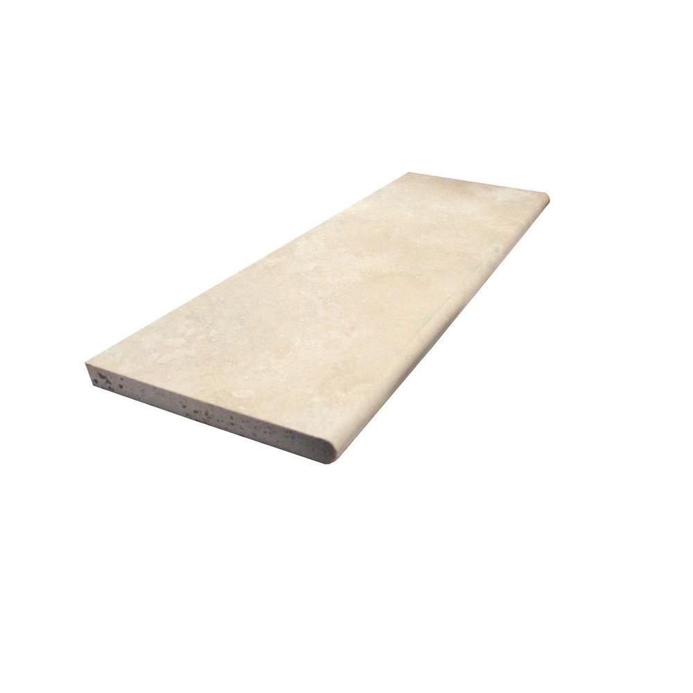 MS International Ivory Travertine 4 in. x 12 in. Base Board Wall Tile