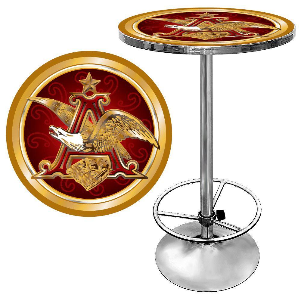 Trademark budweiser a and eagle chrome pubbar table ab2000 ae the trademark budweiser a and eagle chrome pubbar table watchthetrailerfo