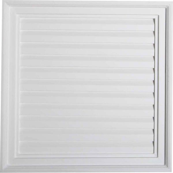24 in. x 24 in. Square Primed PolyUrethane Paintable Gable Louver Vent Non-Functional