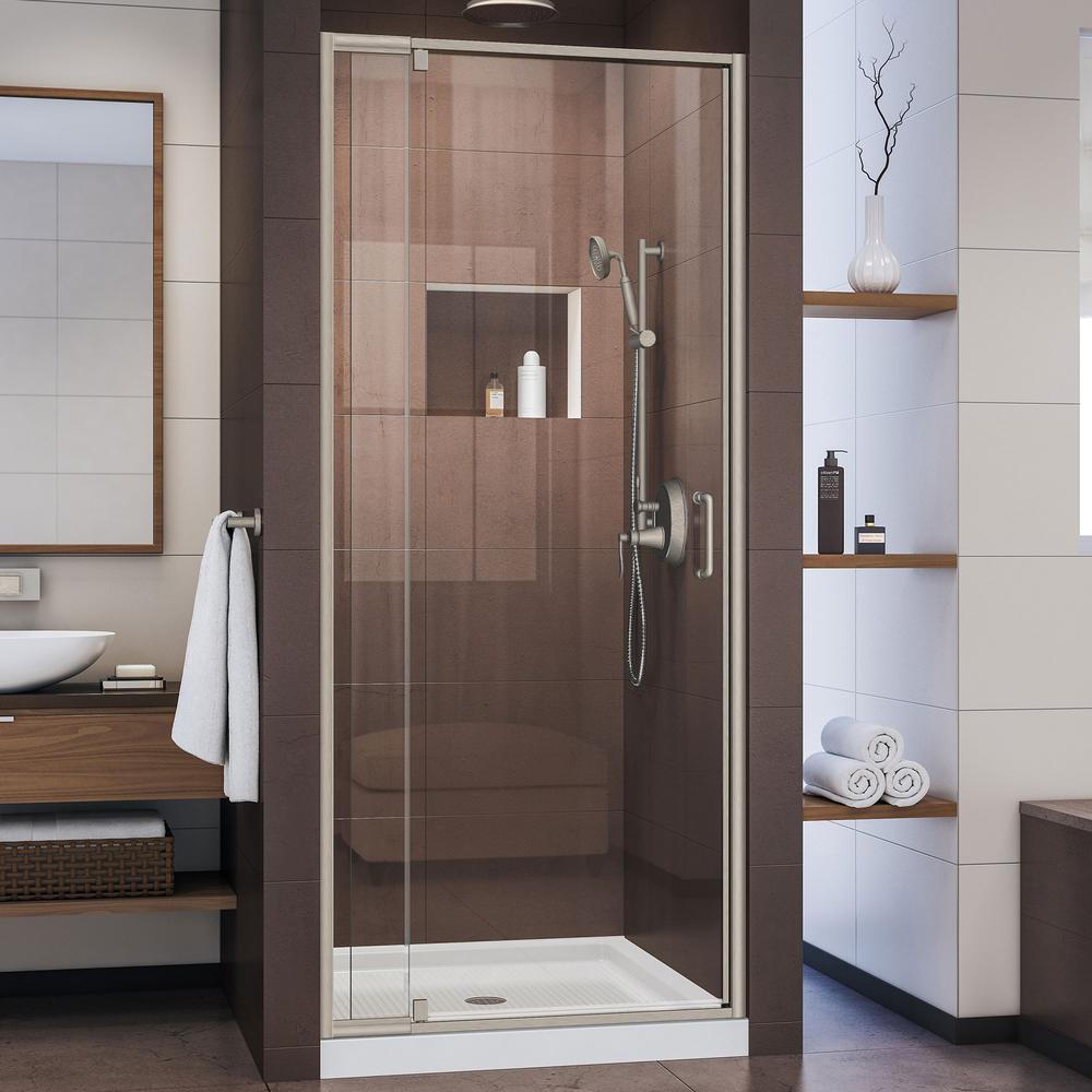 Flex 32 in. to 36 in. x 72 in. Framed Pivot Shower Door in Brushed Nickel