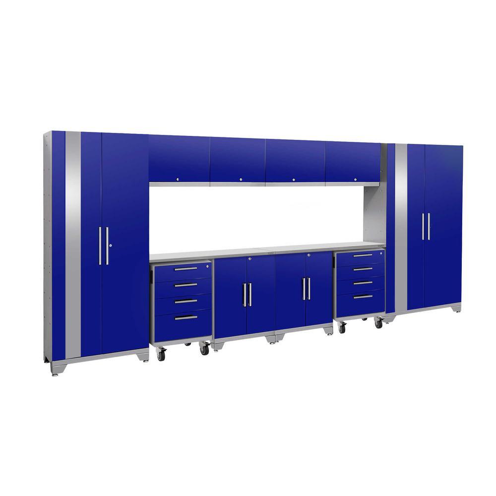 Performance 2.0 77.25 in. H x 156 in. W x 18 in. D Steel Stainless Steel Worktop Cabinet Set in Blue (12-Piece)
