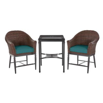 Camden 3-Piece Dark Brown Wicker Outdoor Patio Balcony Height Bistro Set with Sunbrella Peacock Blue-Green Cushions