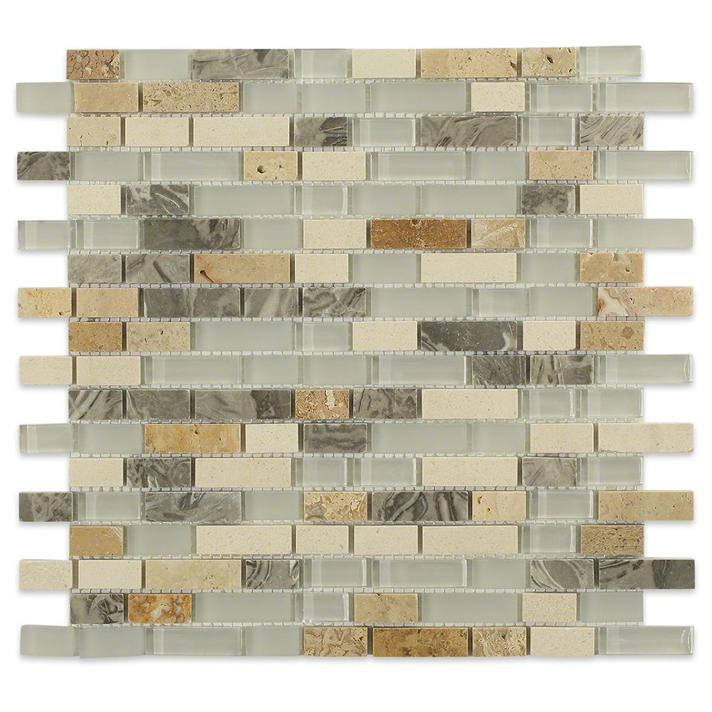 - Sample Green White Crackle Glass Pattern Blend Mosaic Tile
