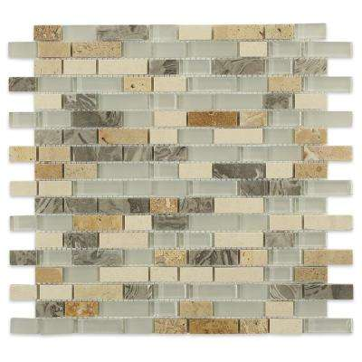Arizona Rain Blend Pitzy Brick Glass and Marble Mosaic Tiles - 6 in. x 6 in. Tile Sample