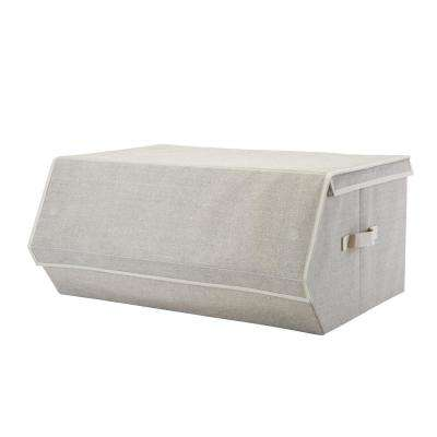 23 in. x 24 in. x 10.5 in. Extra Large Faux Jute Collapsible Storage Chest