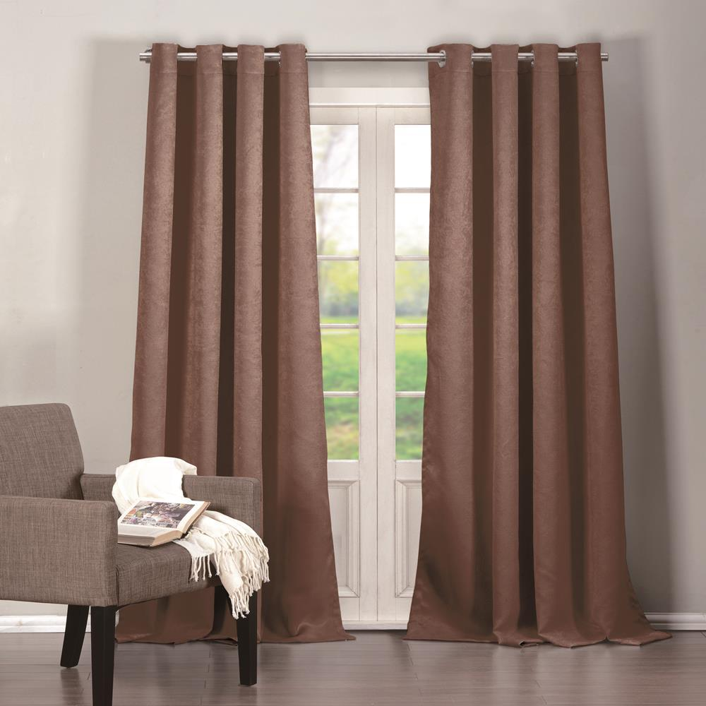 Duck River Quincy 38 in. W x 84 in. L Polyester Window Panel in Chocolate