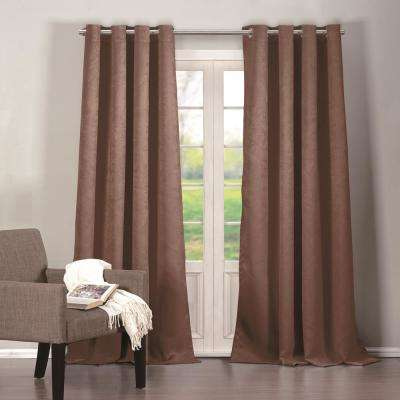 Quincy 38 in. W x 84 in. L Polyester Window Panel in Chocolate