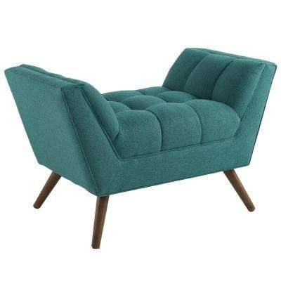 Teal Response Upholstered Fabric Ottoman