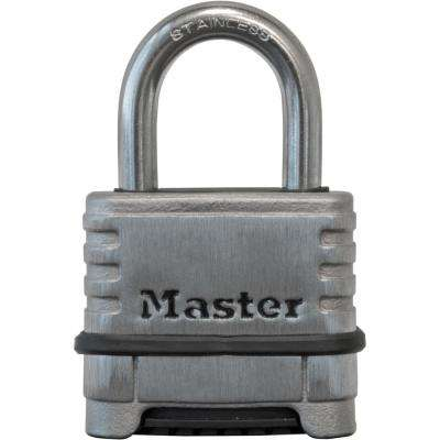 2-1/4 in. W Stainless Steel Resettable Combination Padlock with 1-1/16 in. Shackle