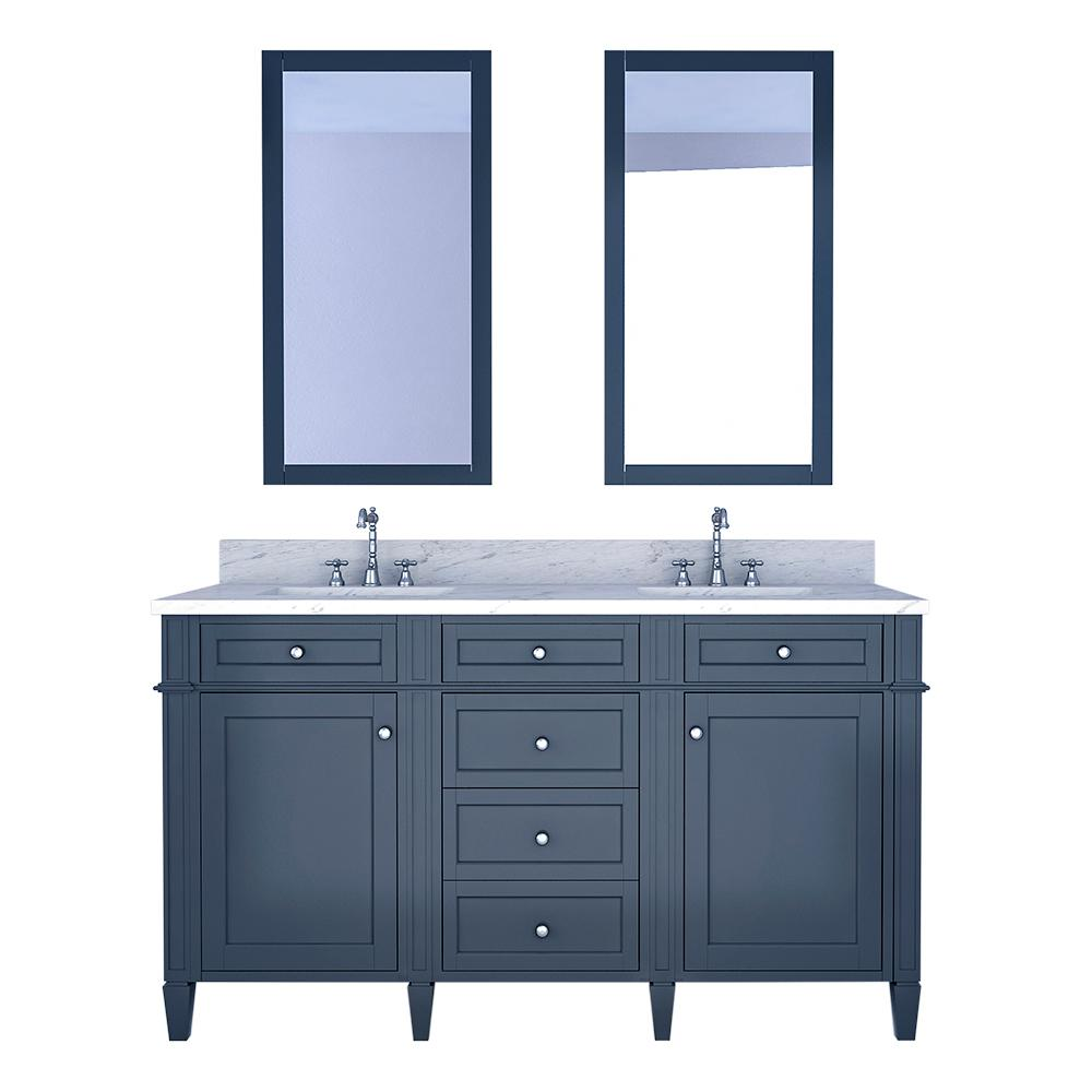 Design Element Birmingham 60 in. W x 22 in. D Bath Vanity in Gray with Marble Vanity Top in White with White Basin and Mirror