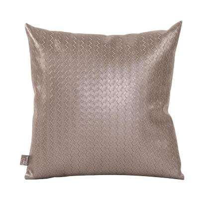 16 in. x 16 in. Gray Decorative Pillow Weave Pewter