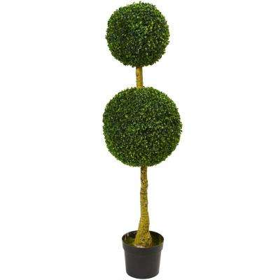 4.5 in. UV Resistant Indoor/Outdoor Double Topiary Boxwood Artificial Tree