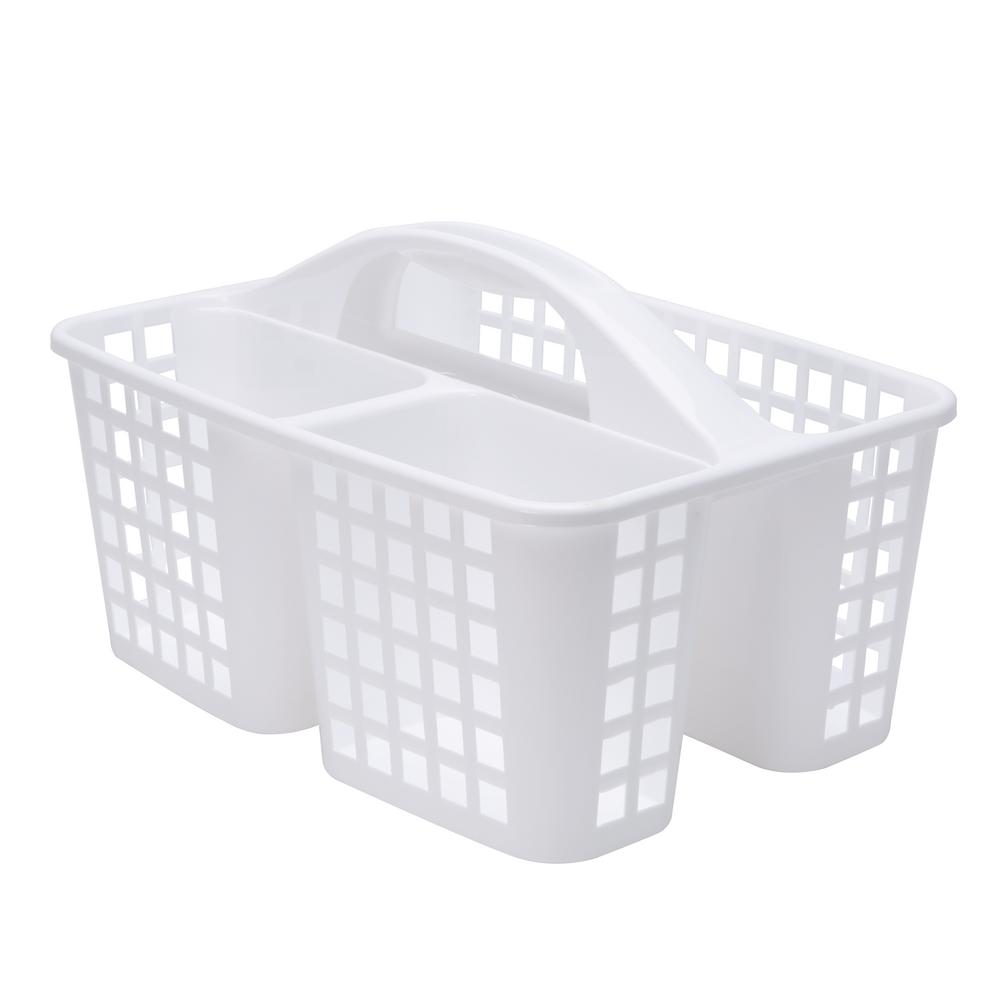 Bath Bliss Caddy Basket with Handle in White-25521 - The Home Depot