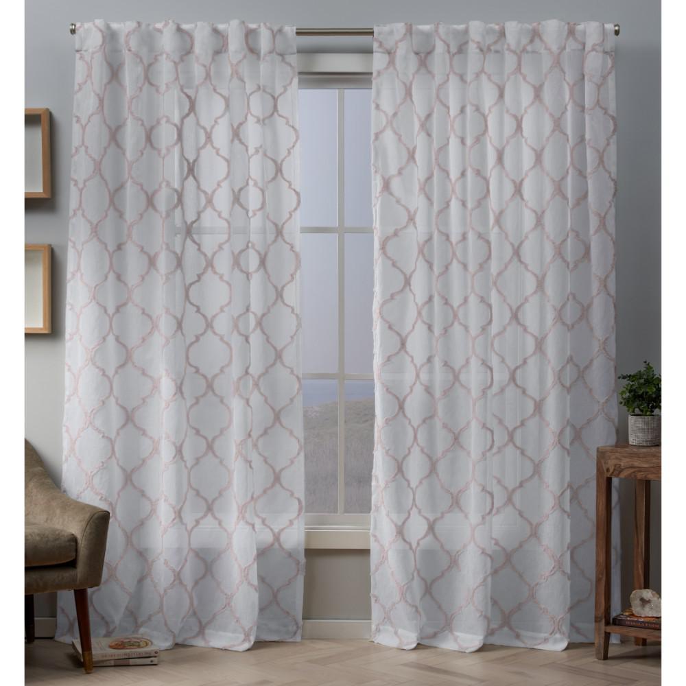 Aberdeen Sheer 54 in. W x 84 in. L Woven Trellis Embellished Hidden Tab Top Curtain Panel in Blush (2-Panel)