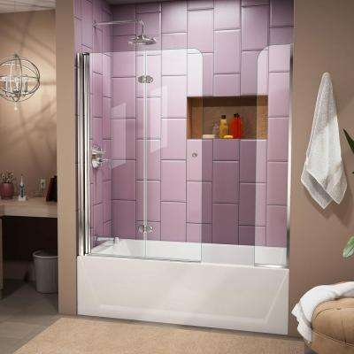Aqua Fold 56 in. to 60 in. x 58 in. Semi-Framed Hinged Tub Door with Extender in Chrome