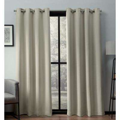 Heath 52 in. W x 96 in. L Woven Blackout Grommet Top Curtain Panel in Natural (2 Panels)