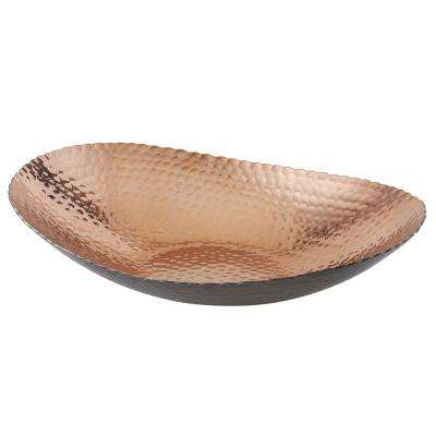 12 in. by 8.75 in. Hammered Oval Platter Bowl in Black and Copper