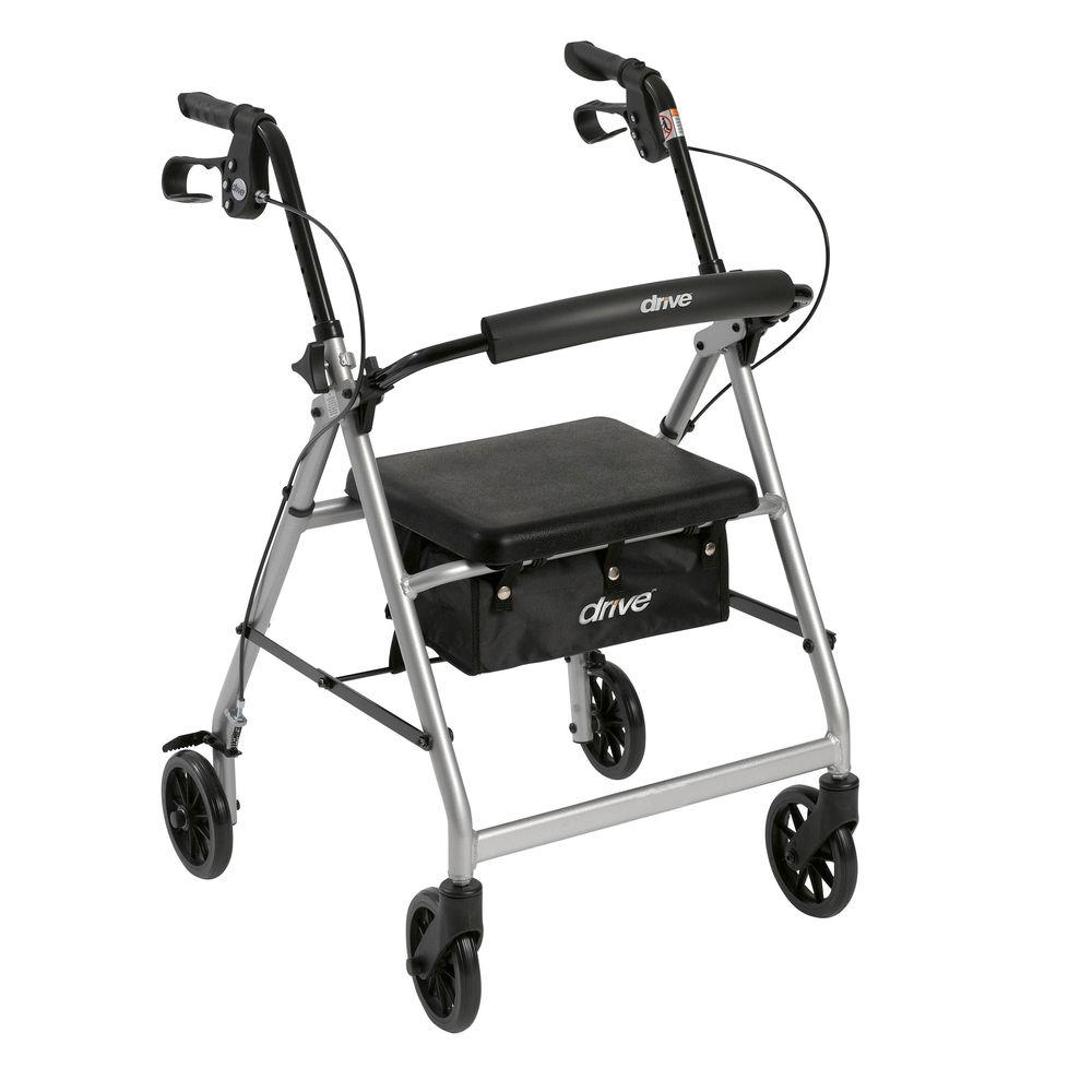 Stupendous Drive 4 Wheel Rollator Walker With Removable Folding Back Support And Padded Seat In Silver Bralicious Painted Fabric Chair Ideas Braliciousco